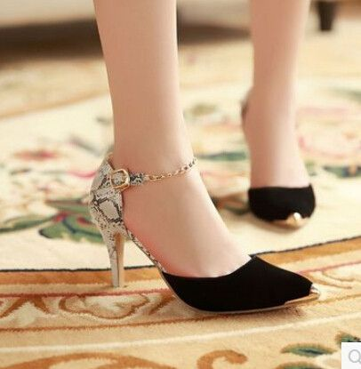 Women new Fashion spring summer sexy serpentine pattern ultra thin 8.5cm high heels pointed toe color block sandals shoes