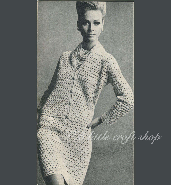 Ladies Jacket And Skirt Crochet Suit Pattern Instant Pdf Download