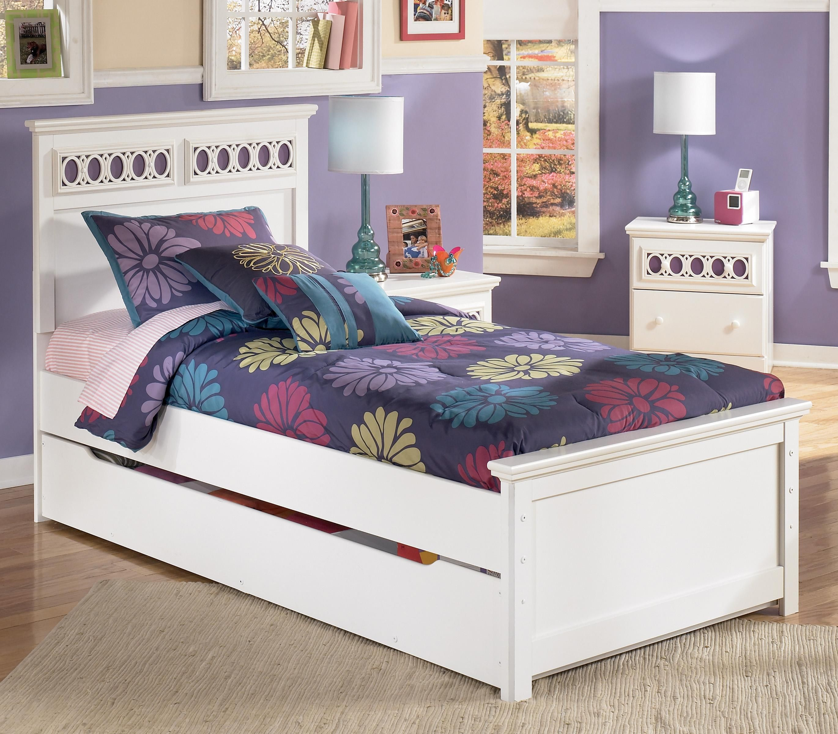 Zayley Twin Panel Bed with Trundle Storage Box by