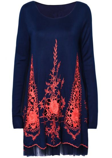 Navy Long Sleeve Hollow Embroidery Mesh Yoke Dress pictures