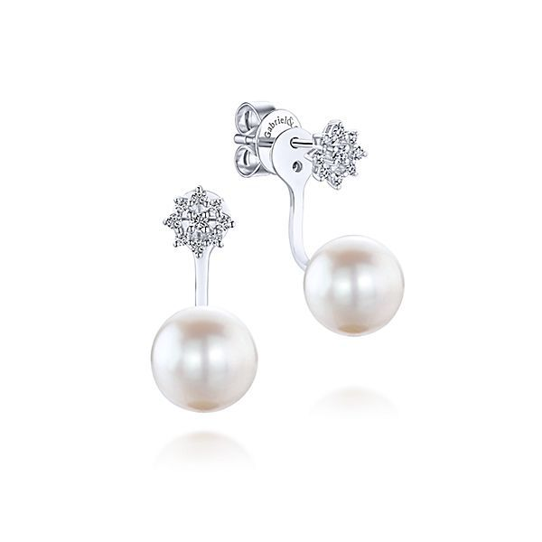78832ebbc Gabriel & Co 14K White Gold Peek A Boo Star-Studded Pearl Diamond Earrings-  These classic .20ct front-back earrings from our Grace collection feature  pointy ...