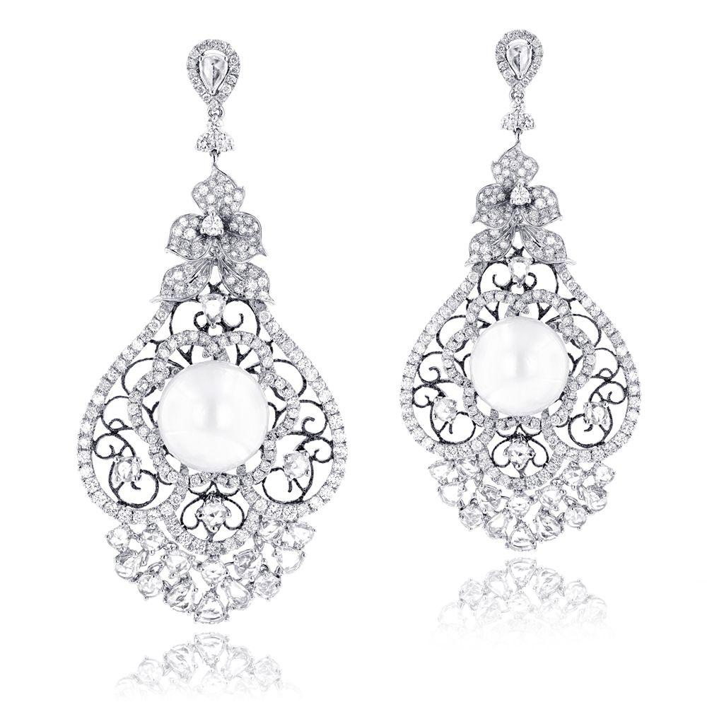 One Of A Kind 18k Gold Designer Pearl Diamond Chandelier Earrings 9 12ct