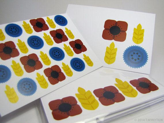 Pack of 8 Blank Note cards  Geometric Modern by PtashkaArts, $12.00 poppies wheat cornflowers