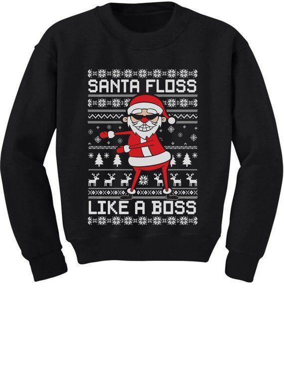 fdc5897b5 Santa Floss Like a Boss Ugly Christmas Sweater Youth Kids Sweatshirt ...