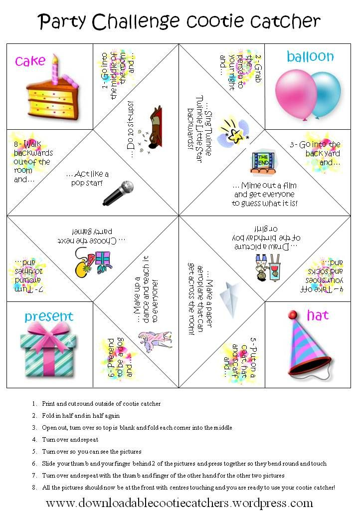 Party Challenge Cootie Catcher  Catcher Birthdays And Craft
