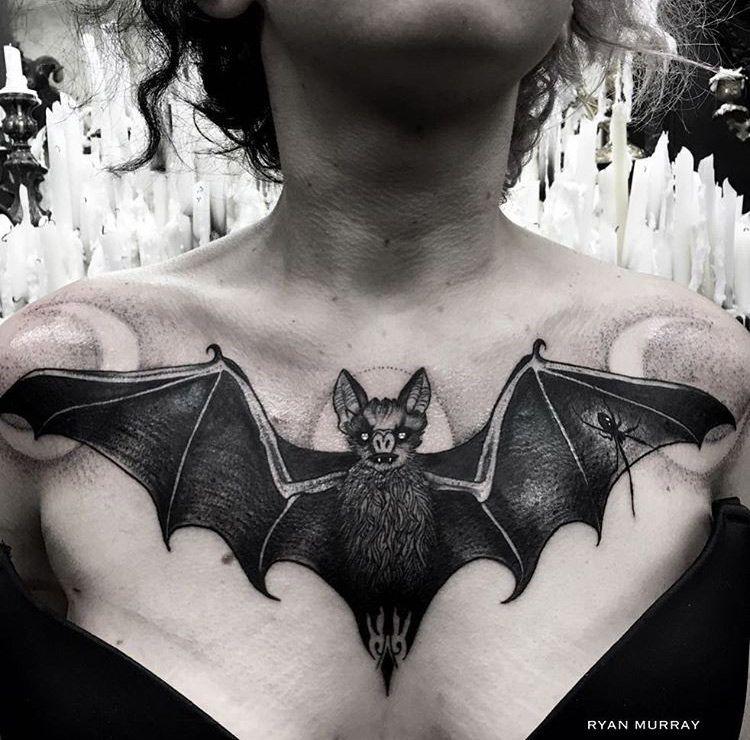 Bat Chest Tattoo Chest Piece Tattoos Tattoos Goth Tattoo