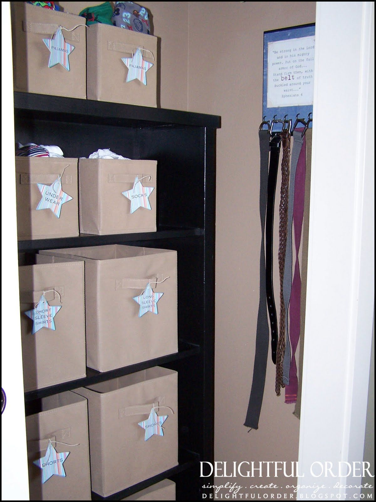 Organize Children S Clothing Using Fabric Bins And Cute Labels