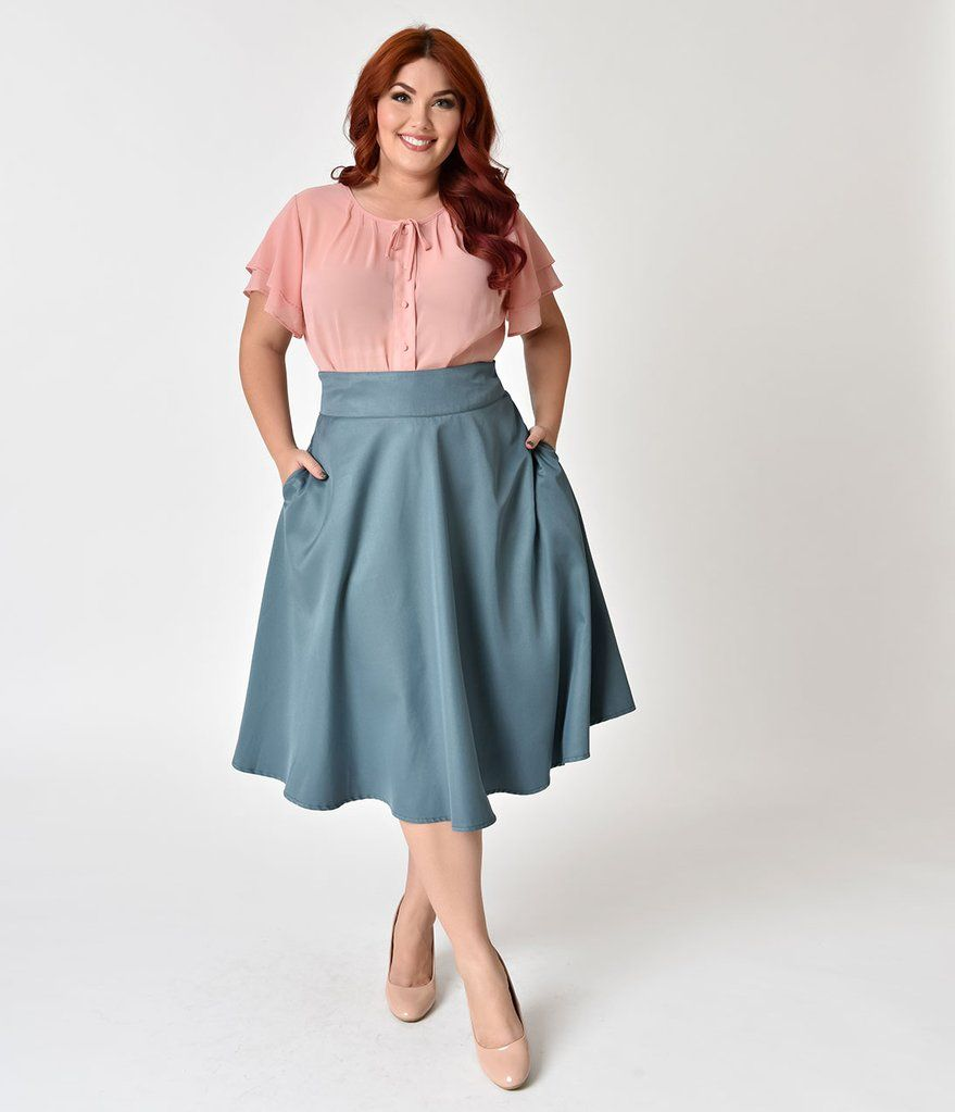 7951996b8dd2f Unique Vintage Plus Size Retro Style Sage High Waist Vivien Swing Skirt