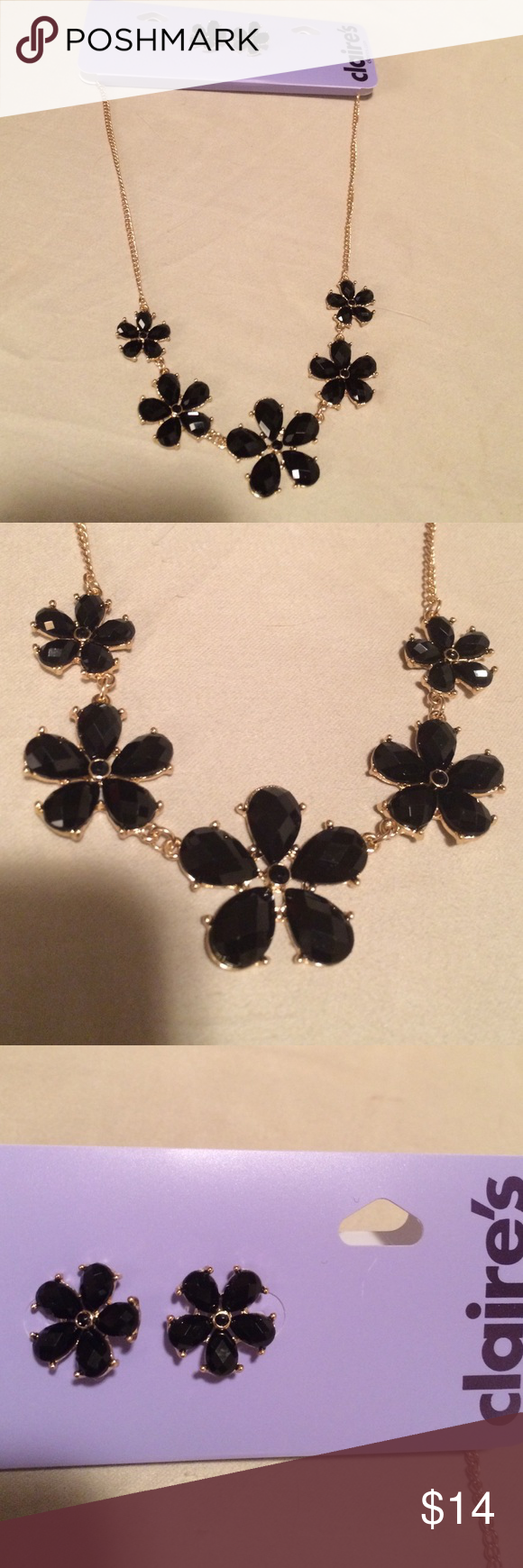 A pretty black necklace & matching earrings A pretty black necklace & matching earrings from Claire's. Brand new. Never used Claire's Jewelry
