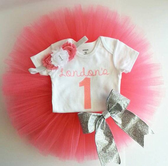 Coral and Silver Birthday Girl Outift with by PolkaDotUmbrellaLife
