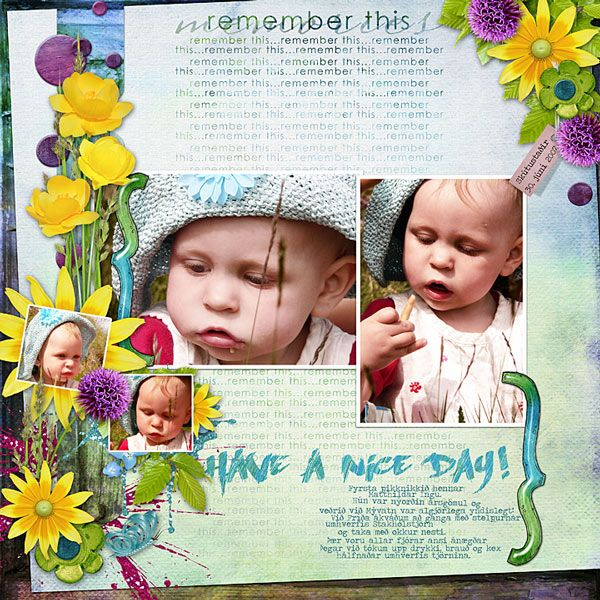 I did this for the Throwback Thursday {Picnic To Remember} challenge at Scrapbook Graphics.   I used mostly Em-Ka's Have a Nice Day!, but the brackets are from Dawn Inskip's Snakes and Ladders and the fading wordart is from the Studio Girls' Connect collab. Everything at the Archive Attic at Scrapbook Graphics.