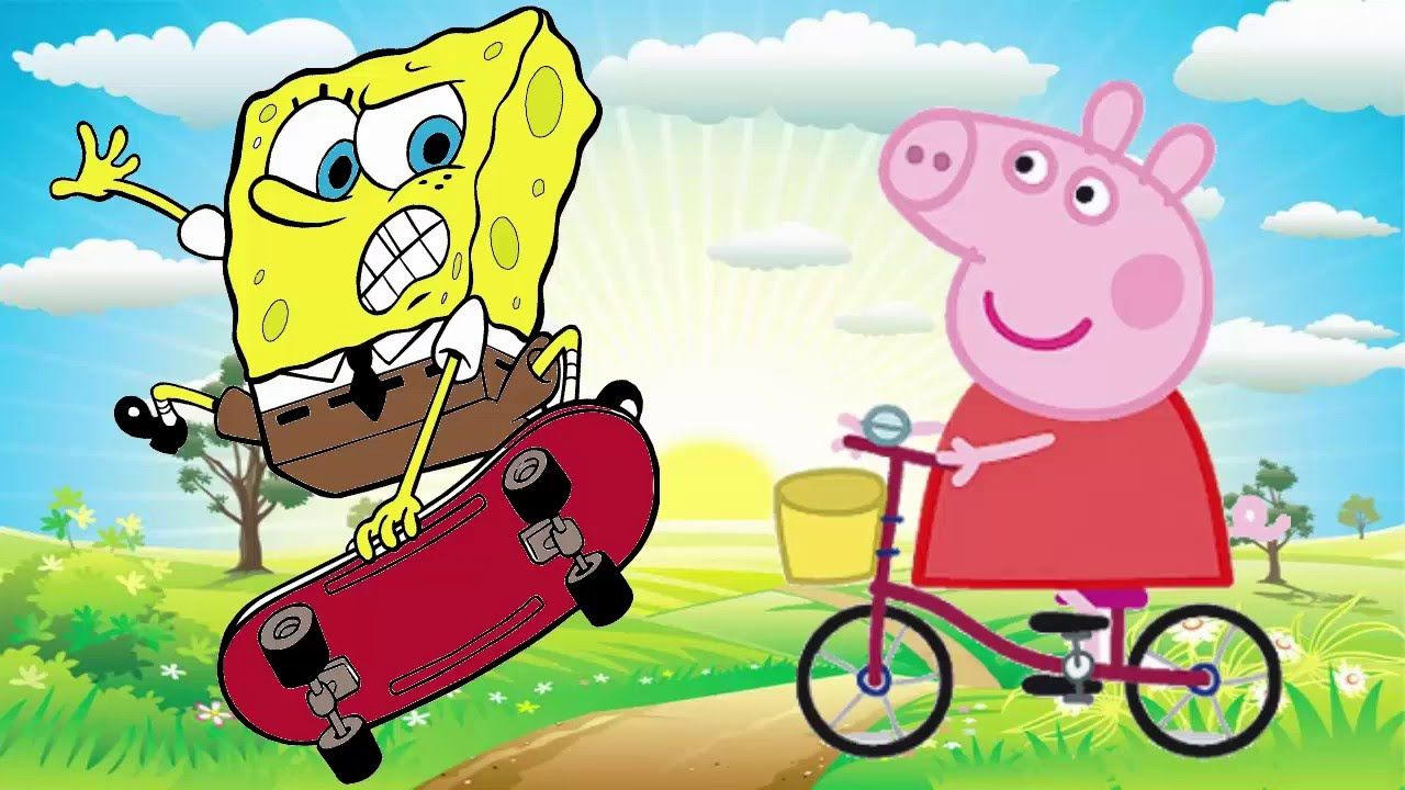 Desenho Peppa Pig E Desenho Bob Esponja Completo Em Portugues