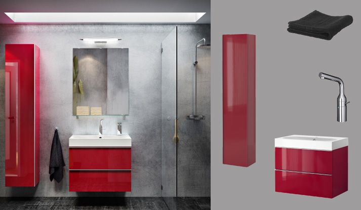 GODMORGON BRÅVIKEN red high-gloss wash-stand with two drawers and - ikea meuble salle de bain godmorgon