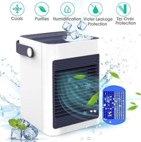 DOUHE Air Cooler with Ice Tray, Mini Portable Air