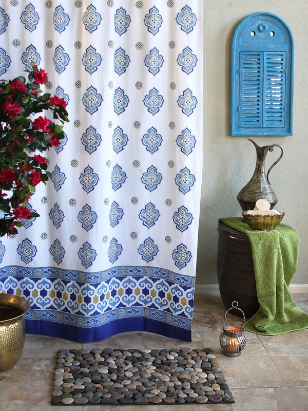 Moroccan Style White Quatrefoil Print SHOWER CURTAIN Experience The Therapeutic Benefits Of Color And Wash Blahs Away With Our Unique Handcrafted