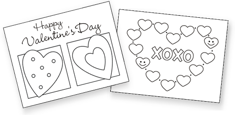 Valentine exchange cards - free coloring cards include 2 ...