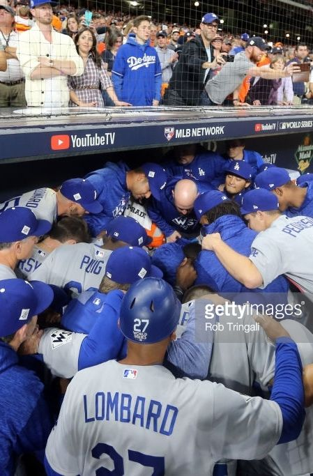 Dodgers dugout, pregame // World Series GAME 5 Oct 29, 2017 at HOU
