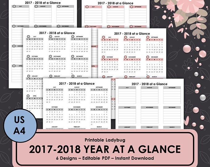 Printable Yearly Planner,2017-2018 Planner,Academic Planner,Student
