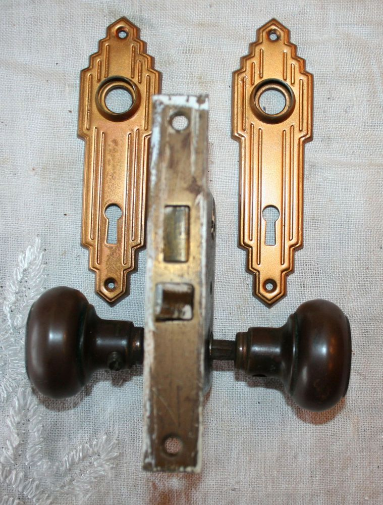 Art Deco Brass Door Lock Set, Knobs, Plates, Lock Mechanism No Key #