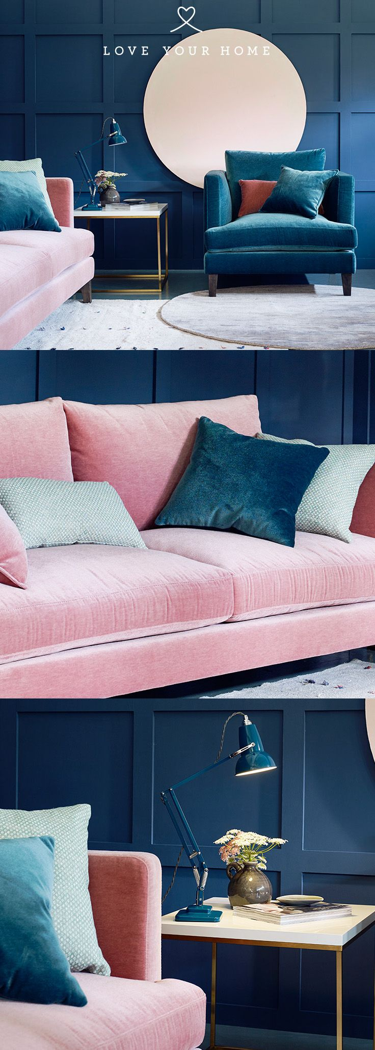 Marlon Modern Sofa Velvet Sofa Living Room Pink Living Room Blue Living Room Decor #teal #and #pink #living #room