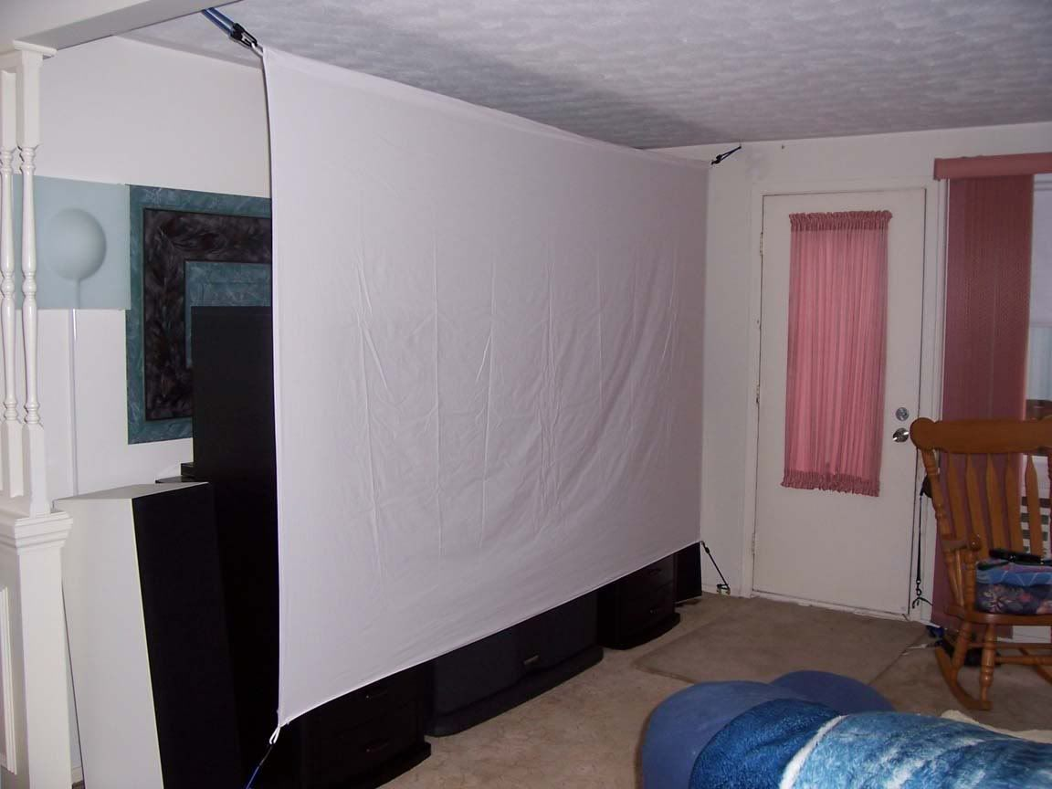 Diy Projector Screen Made With Bed Sheets And Bungee Cord