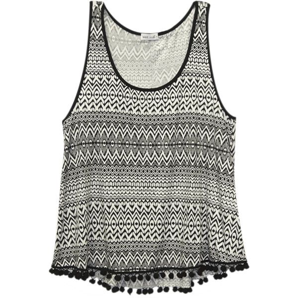 4efd387a140bc Wet Seal Plus Size Tribal Print Pompom-Trim Tank ( 19) ❤ liked on ...