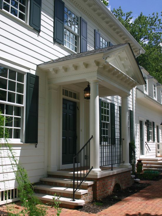 Pin By Renee Arndt On Outdoors Portico Design Front Porch Design Colonial Front Door