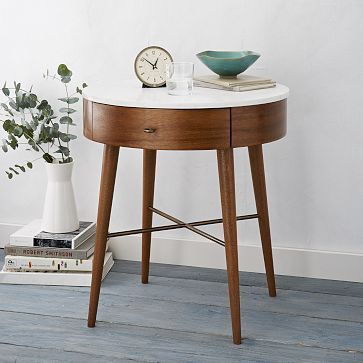 Round tapered nightstand in white marble and stained eucalyptus and acacia woods