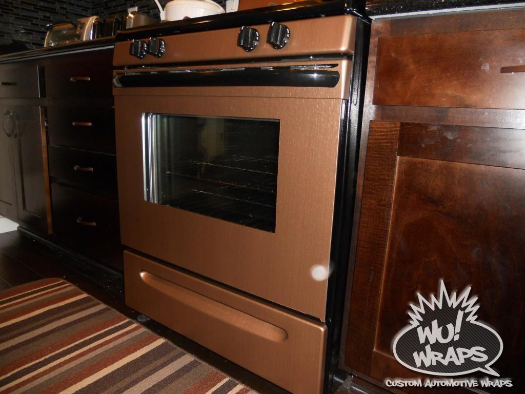 Copper Appliances Kitchen fridge, stove, mircowave, dishwasher wrapped in 3m di-noc me380