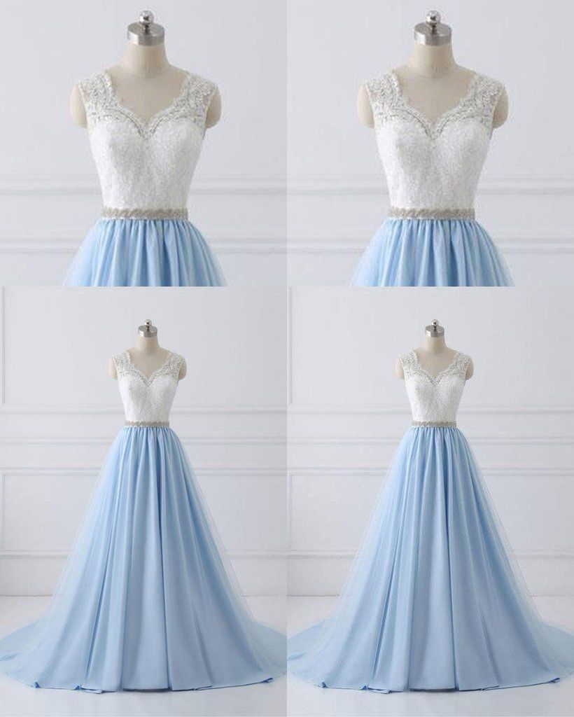 11b6297970eb Sky blue long V neck halter evening dress with beaded belt, white lace  sweet 16 prom dress