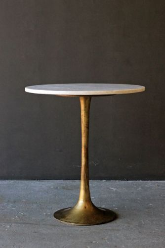 Round Brass Coffee Table With Marble Top By Rockett St