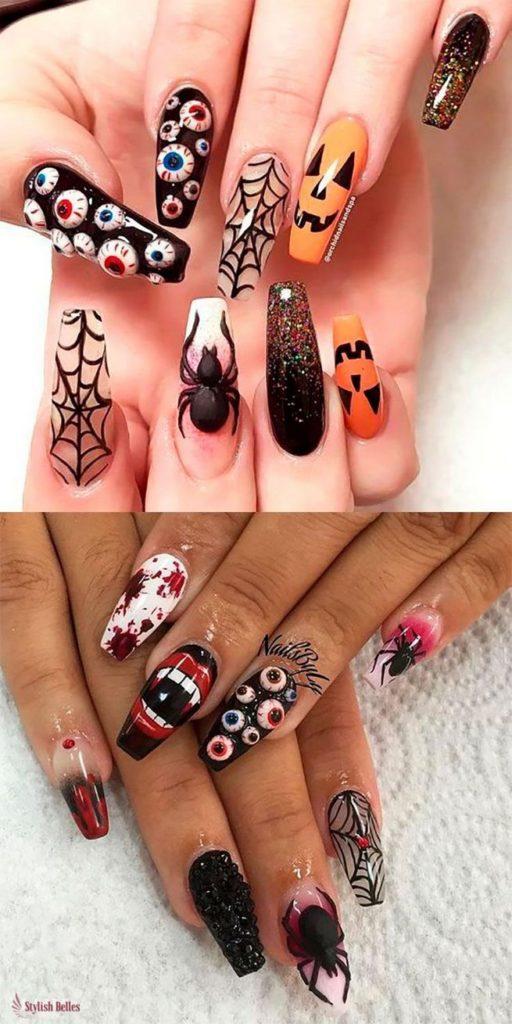 50 Easy Diy Halloween Nail Art And Design Ideas Halloween Nail Designs Halloween Acrylic Nails Scary Halloween Nails Design