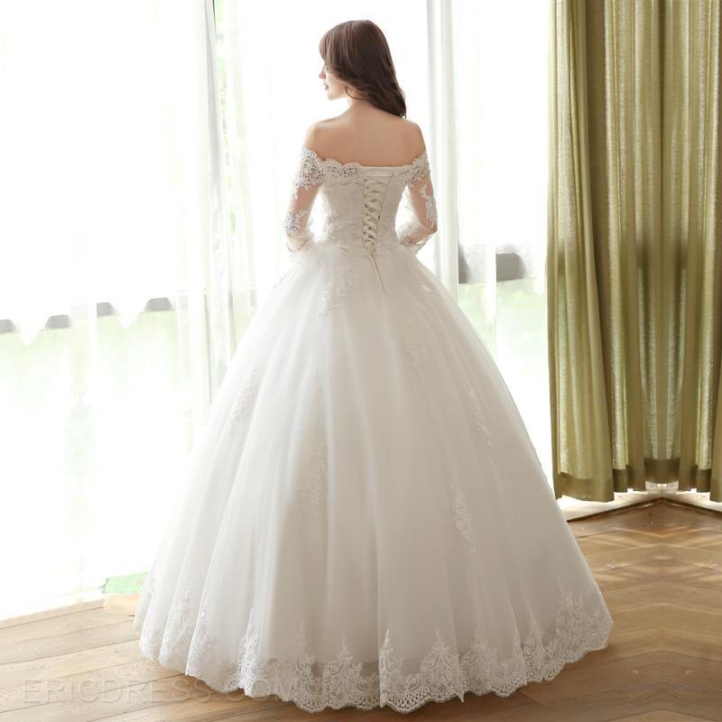 Ericdress Off The Shoulder Ball Gown Wedding Dress With Sleeves Long Sleeve Ball Gown Wedding Dress Simple Bridal Gowns Ball Gown Wedding Dress