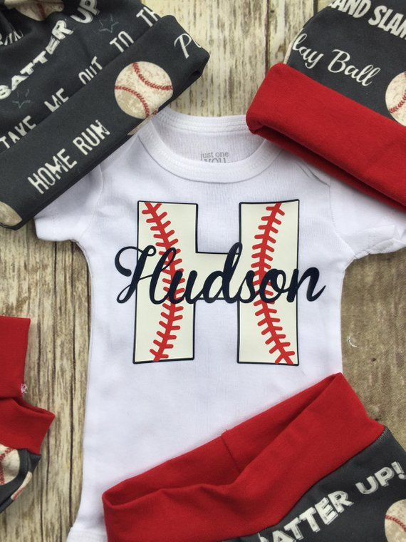 e38b3b3f1 Baby Boy Baseball Coming Home Outfit, Personalized Boys Outfit, Navy Red  Hospital Take Home Newborn