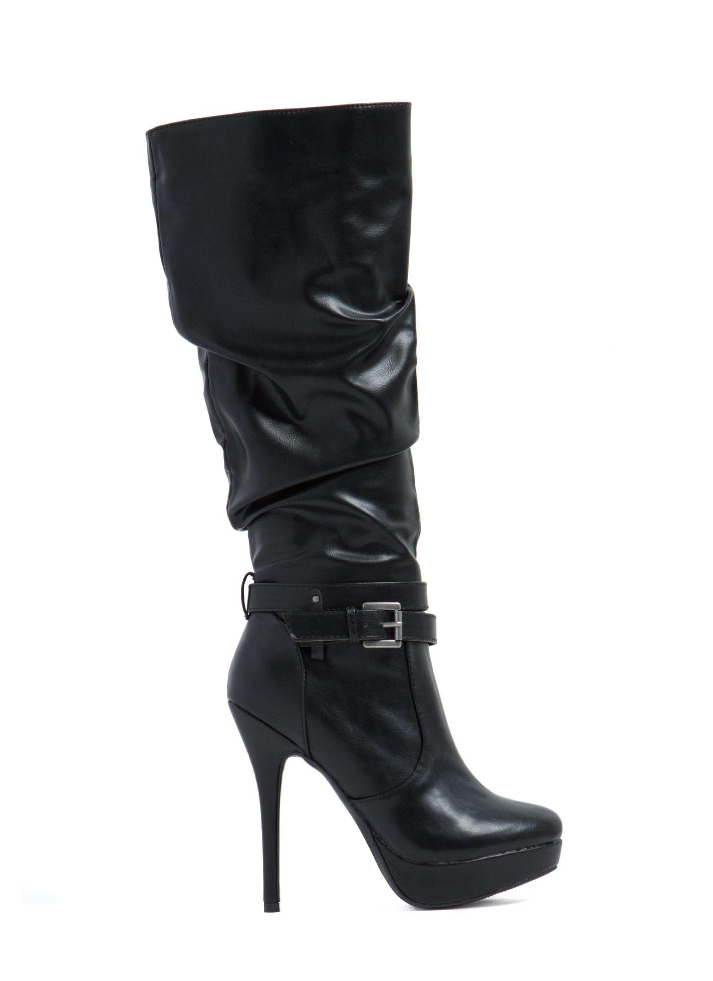 Slouch It Faux Leather Boots BLACK COGNAC - GoJane.com ...