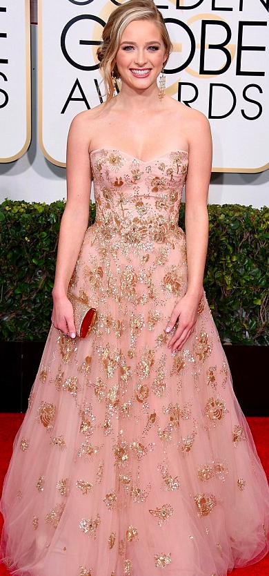 Greer Grammer in Lorena Sarbu dress at the Golden Globe Awards 2015
