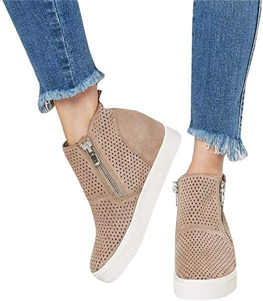 df3f43b7e52b0 Amazon.com: Womens Wedge Platform Sneakers Ankle Booties Heel Zipper ...