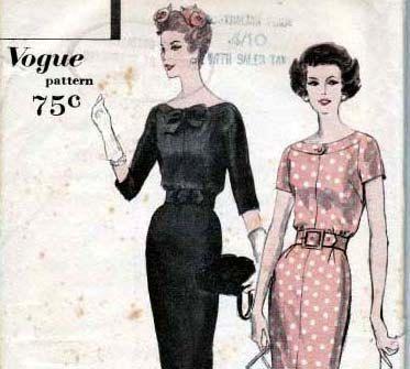 Sz 12 Vintage 50s Vogue Sewing Pattern 9781 Wiggle Dress Size 12 ...