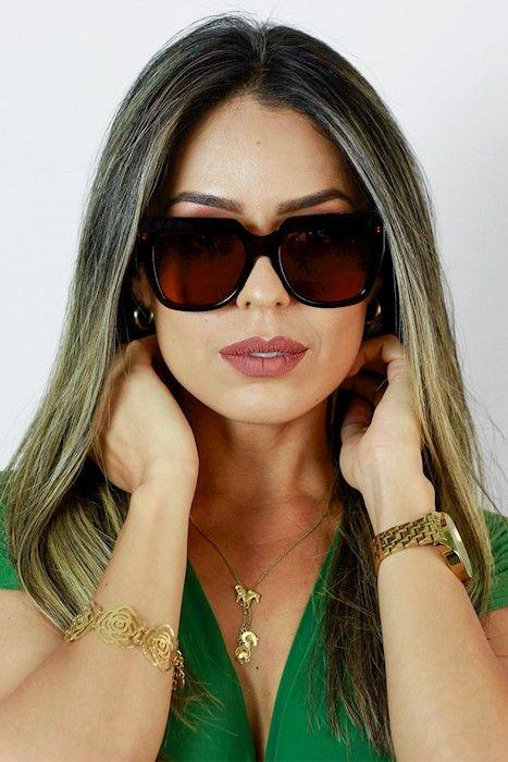 Óculos de Sol Ma Chérie Verona Quadrado Gatinho Marrom   Óculos de Sol 3eff494ffd