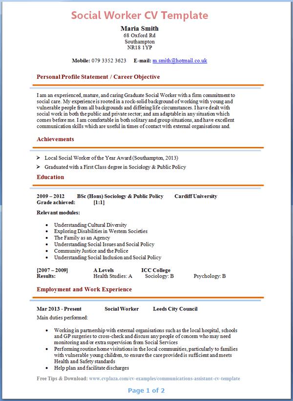 Cv Template Social Work Cvtemplate Social Template Social Work Sample Resume Resume Examples