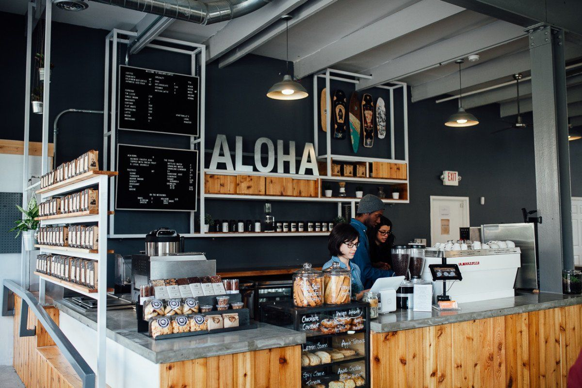 aloha coffee shop design ,dark blue and rough wood decoration