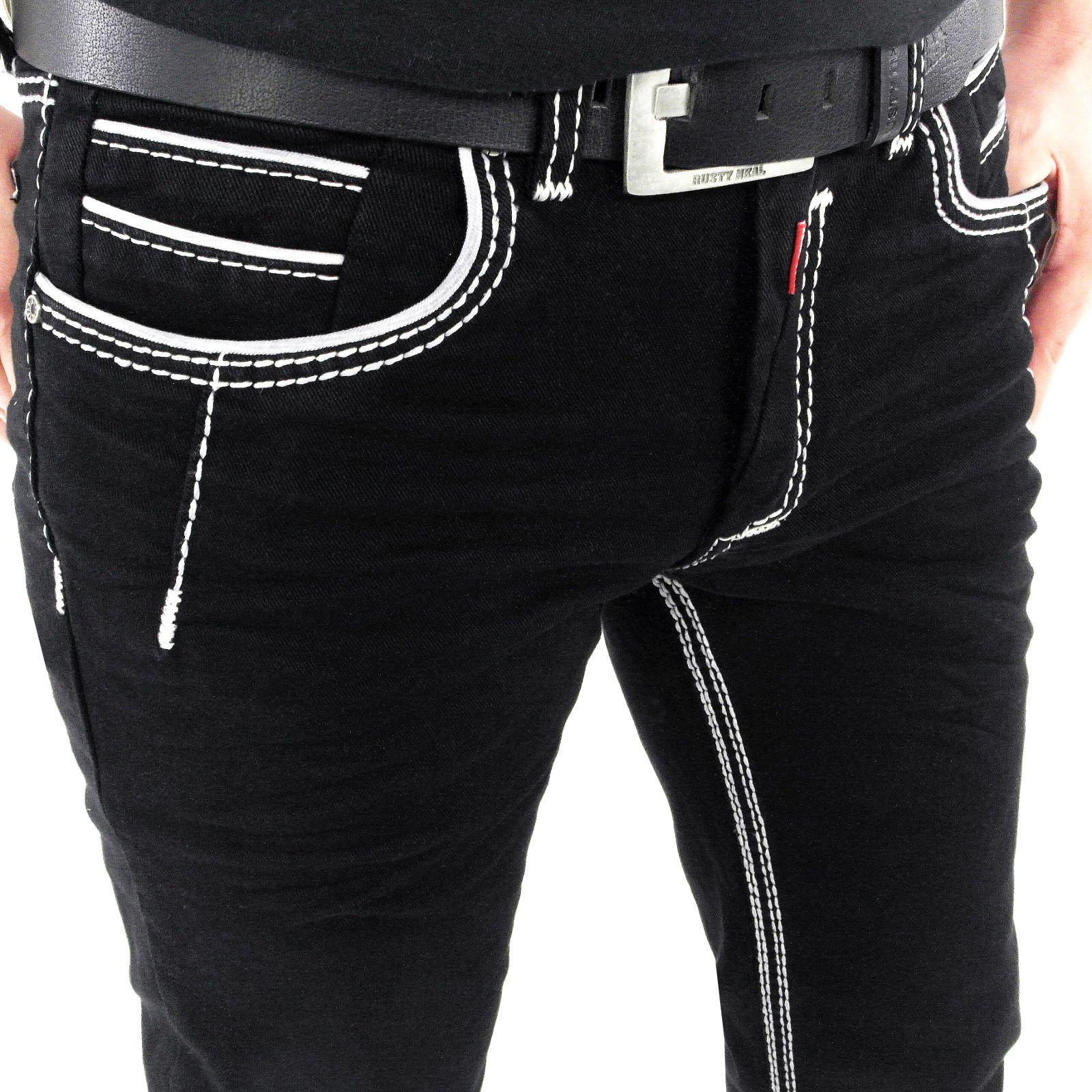 Stylische Herren Jeans Slim Fit in schwarz mit weißen dicken Nähten   stylefabrik  männer   f6a4860b75
