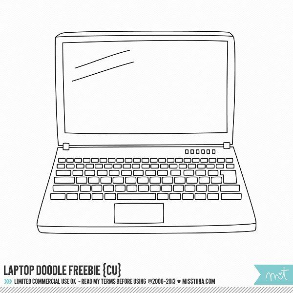 Laptop Doodle Cu Freebie Laptop Drawing Digi Stamps Doodles