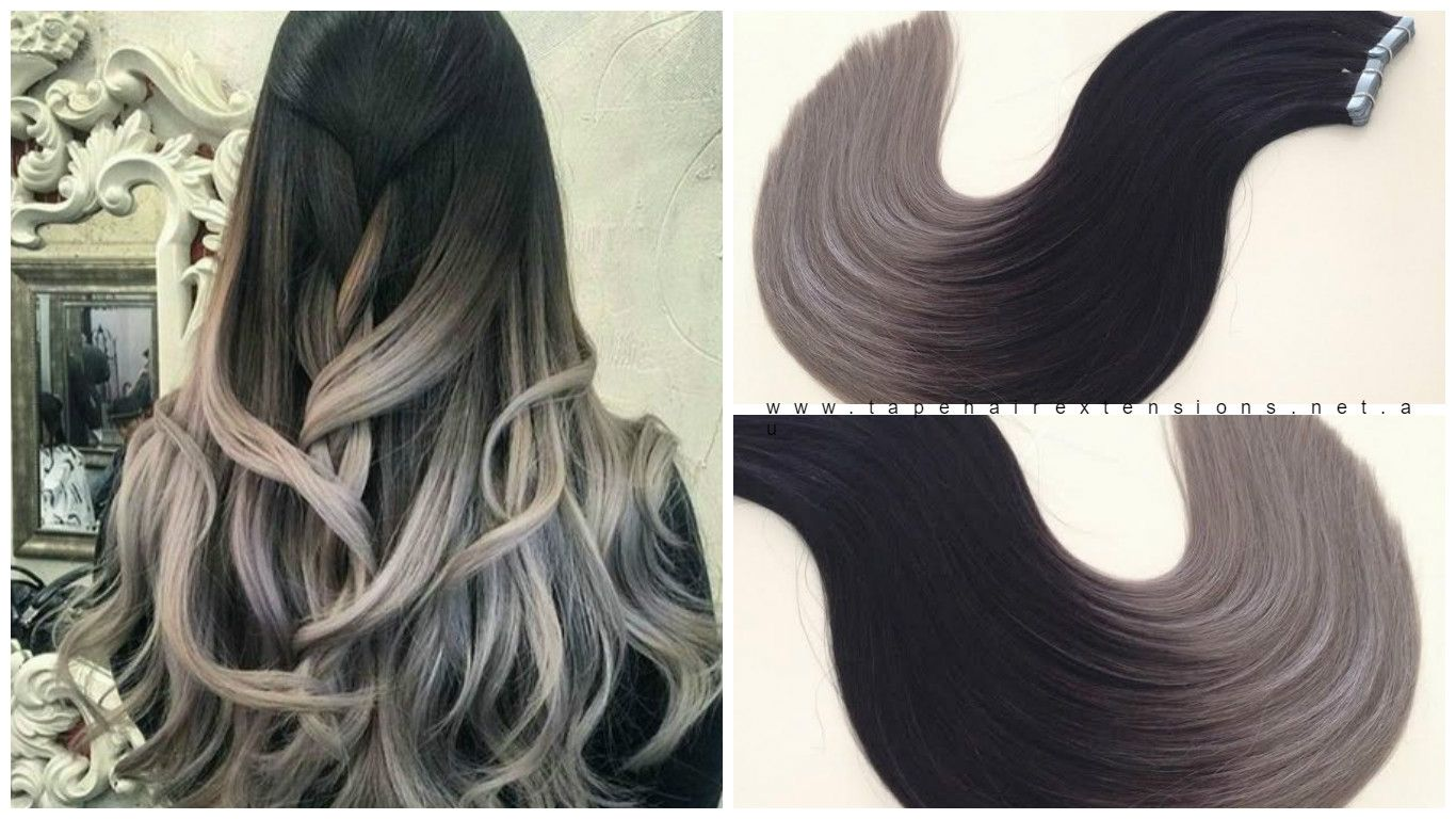 Black to grey long root fade ombre balayage hair extensions www black to grey long root fade ombre balayage hair extensions tapehairextensions pmusecretfo Images