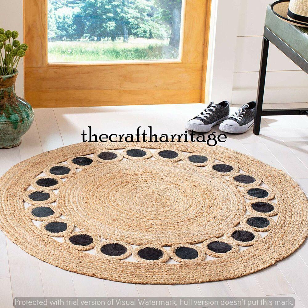 Round Bohemian Jute Rug Natural Jute Rug Braided Rug 4 Feet Floor Rug Carpet Rug Handmade Braided Jute Round Rug Natural Jute Rug Area Rug Decor