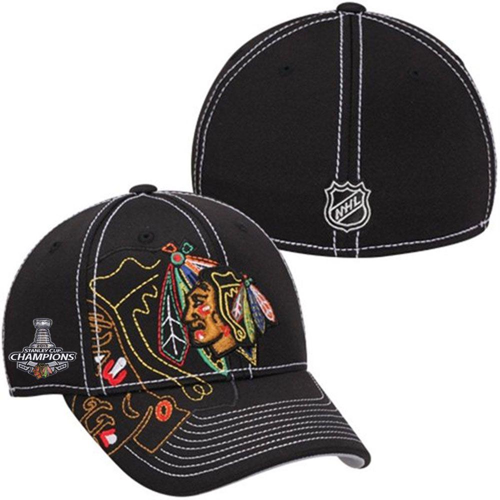 523e403d09748 Chicago Blackhawks Stanley Cup Champions Draft Flex Hat by Reebok ...
