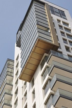Clad Underside Of The Balcony With Brass Rainscreen Cladding Steel Metal Roofing Cladding Systems