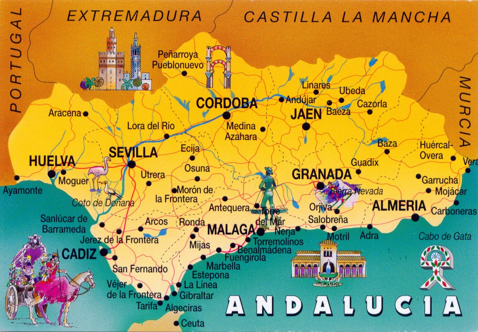 Andalucia On Map Of Spain.Andulusian Spain 0988 Spain Andalusia The Map Of Andalusia