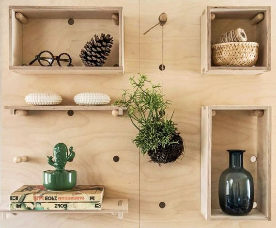 Bookcases. Pegboard Modern Plywood Wall Peg Open Shelving | Plywood ...