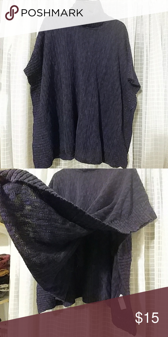 Navy Knit Poncho Perfect for layering! Throw this over a long sleeve and its so cozy! Arm sleeves are not attached, so its open and drapey. Turtle-neck. Tag says a S/M but because of the open design it could fit anywhere from an XS to a L and not look odd. The color is a navy/black marbled, so black leggings would make this the perfect comfy outfit! Sweaters Shrugs & Ponchos
